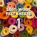 フェルト【1色からOK】99 色からえらぶ:100%ウールフェルト 20X30cm 1mm