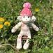 【SOLD OUT】ソックモンキー 女の子(ノルディック/白xピンクxグレー) #173
