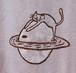 草木染、ベンガラ染め、綿100 月と土星猫 半袖Tシャツ 男性用ⅩLサイズ