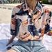 2523.トロピカル花柄アロハシャツ (ピンク)  2018 春夏 花柄 トロピカル サマー アロハ ゆったり 通勤 通学 女子会 カフェ ランチ