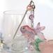 金魚と水ヨーヨーの簪 ピンク (一点もの)