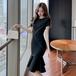 【dress】美人度アップマーメイドデートワンピース着痩せ着心地よい N-0125