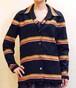 S~Xサイズ【アメリカ製古着】1970年代ヴィンテージ◆黒地に赤黄白のボーダー◆ゆったりシルエット◆ジャケット