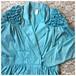 ヴィンテージ デザインジャケット ブルゾン 型押し スカイブルー