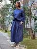 WOMENS:LILOU+LILY【リルアンドリリー】MIGRATORY BIRD GATHER SKIRT(ネイビー/ワンサイズ38のみ)渡り鳥刺繍ギャザースカート