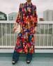 70s red animal print long dress ( ヴィンテージ  レッド アニマル柄 ロング ワンピース )