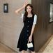 【dress】レディースファッション ボタンデザインデートワンピース着痩せ大人気