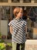 WOMENS:ESTROISLOSE【エストゥロワルーズ】スラッシュボーダーのフレンチスリーブ(ブラック/FREEサイズ)
