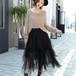 シフォン チュール シャギーデザインスカート・F/3色あり