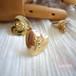 一輪バラのゴールドハートイヤリング&ピアス 薔薇
