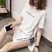 韓国風 おしゃれ プリント スリット 半袖 カジュアル Tシャツ・トップス