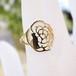 【猫のジュエリー】K18YGダイヤモンド付きフラワーシルエット猫のリング