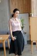 see-through blouse - pink / white