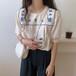 韓国ファッションレトロラウンドネックバイカラー刺繍コージーシャツ・ブラウス