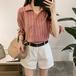 【送料無料】【3色】カジュアル ストライプ リボン カラーシャツ 半袖 通勤 フェミニン 春夏