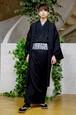 グラースオリジナル羽織 ウールギャバ メンズ BK ウール100%