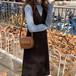 ワンピース Vネック ロング丈 ノースリーブ ジャンバースカート 巻きスカート カシュクール ウール カジュアル ボタン ディープ Vライン