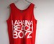 1980's [JERZEES] LAHAINA BEACH BOYS タンクトップ レッド 表記(L)
