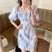 【dress】レディースファッション パフスリーブレトロ デートワンピース2色