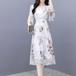 【dress】エレガント気質満点Vネック花柄ワンピースフェミニン合わせやすい M-0346