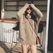 【トップス】韓国ダメージ加工ニットゆったりトング無地セーター24360245