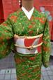 【上質のウール着物】ボタニカル☆グリーン