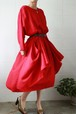 80s red rayon dress