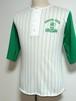 1980's ARTEX ピンストライプベースボールTシャツ 白×緑 表記(M)