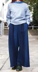 藍染 ワイドパンツ 春夏 ストライプ スレンダー