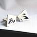 純銀銀彩 孔雀の羽根 カフス