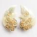 sequin leaf & flower earring[e-830]
