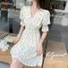 【dress】好感度UPスウィートVネックチュニック花柄ワンピース合わせやすい M-0377