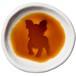 ボストン・テリアのシルエットが浮かぶお醤油小皿(丸)