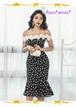 【お取り寄せ品】大人かわいい*フラワーレース使いのドット柄マーメイドドレス