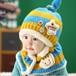 FIRE START 選べる4色 ニット帽子&マフラー セット耳まであったかキャップ ベビー キッズ 子供用 ニットキャップかわいい 赤ちゃんニット帽誕生日 出産祝い 記念写真の衣装にベビー 防寒帽子 (キイロ+水色) bpab893