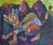 獣が棲む里(アクリル絵画)