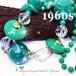 鮮やかなエメラルドグリーン★大玉 ルーサイト ビーズ ヴィンテージ ロング ネックレス 1960s
