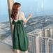 【dress】おしゃれ!切り替えリボン付き韓国系デートワンピース2色 M-0183