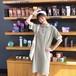 ワンピース ポロシャツ ロゴ 襟付き フリル 半袖 ひざ丈 ゆったり Iライン スリット レディース カジュアル wa411