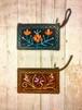 ネパール ヤギ革 刺繍ポーチ
