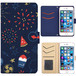 Jenny Desse iphone 7 ケース 手帳型 カバー スタンド機能 カードホルダー ネイビー(ブルーバック)