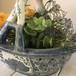 アンティーク陶器花瓶 置物 バスケット花籠 ビンテージ雑貨