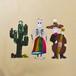 メキシコ ブリキのオーナメント 3セット(ガイコツ×2・サボテン)