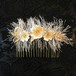 毛虫と花刺繍のヘアコーム(オフホワイト×シャンパン)