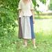 麻と藍染めの3色スカート