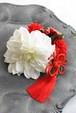 白のダリア 上品な和装髪飾り