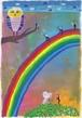 ポストカード「 くろいようせい 蝶と虹 」