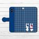 #053-010 iPhoneケース スマホケース 手帳型 全機種対応 シンプル 可愛い iPhoneXS/X Xperia iPhone5/6/6s/7/8 ケース おしゃれ Galaxy ARROWS AQUOS HUAWEI Zenfone タイトル:チェックうさぎ手帳型iPhone,Androidケース(青) 作:Hanami