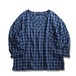 Key Neck Bohemian Shirt -Blue x Navy