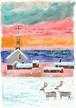 ポストカード「 トナカイと教会' 」